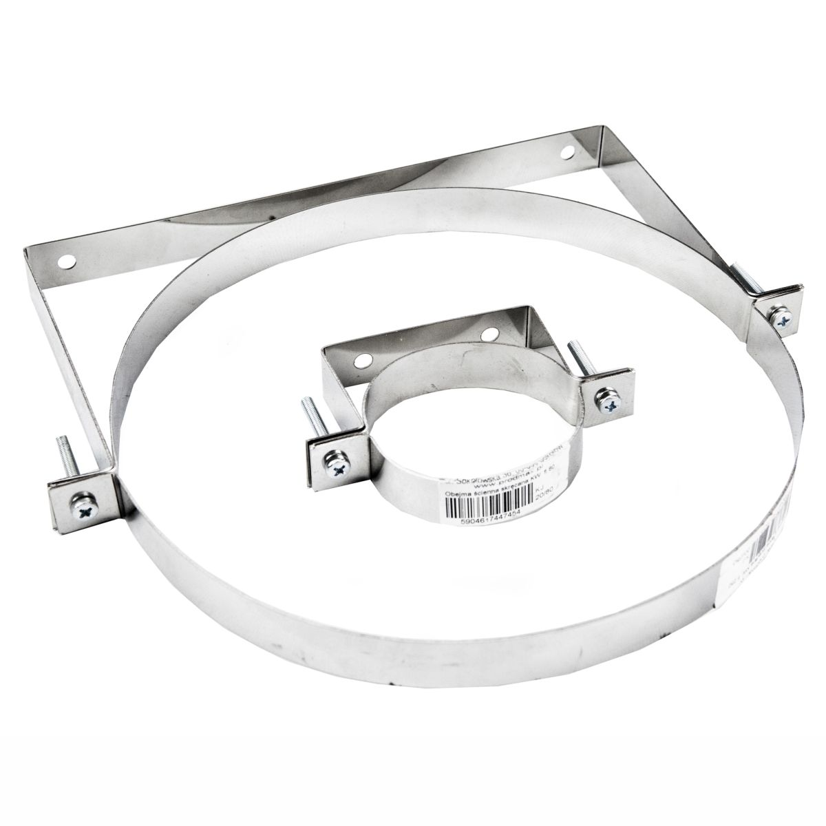 Stainless steel chimney flue wall support clamp pipes
