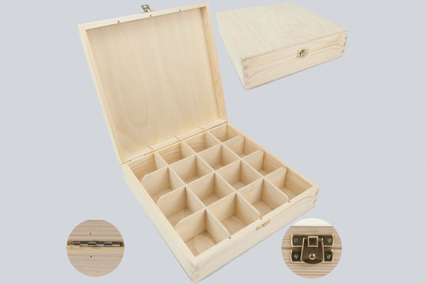 WOODEN TEA BOX 16// UNPAINTED NEW WOODEN TEA BOX 16 SECTIONS//ART CRAFT DECOUPAGE